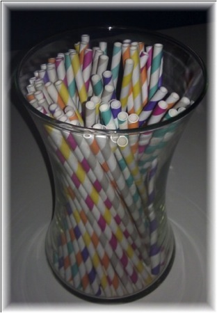 Colorful Polka Dot and Striped Straws